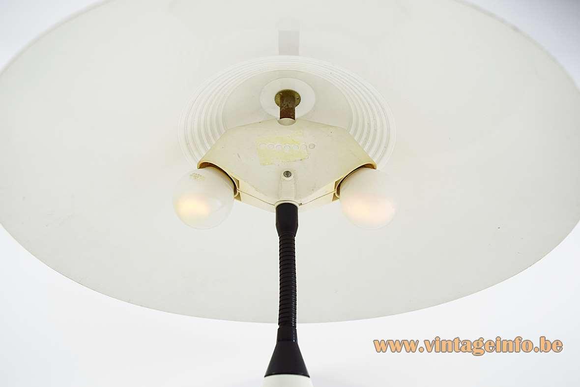 1980s white cone table lamp white plastic 2 E27 sockets black goose-neck Massive Belgium
