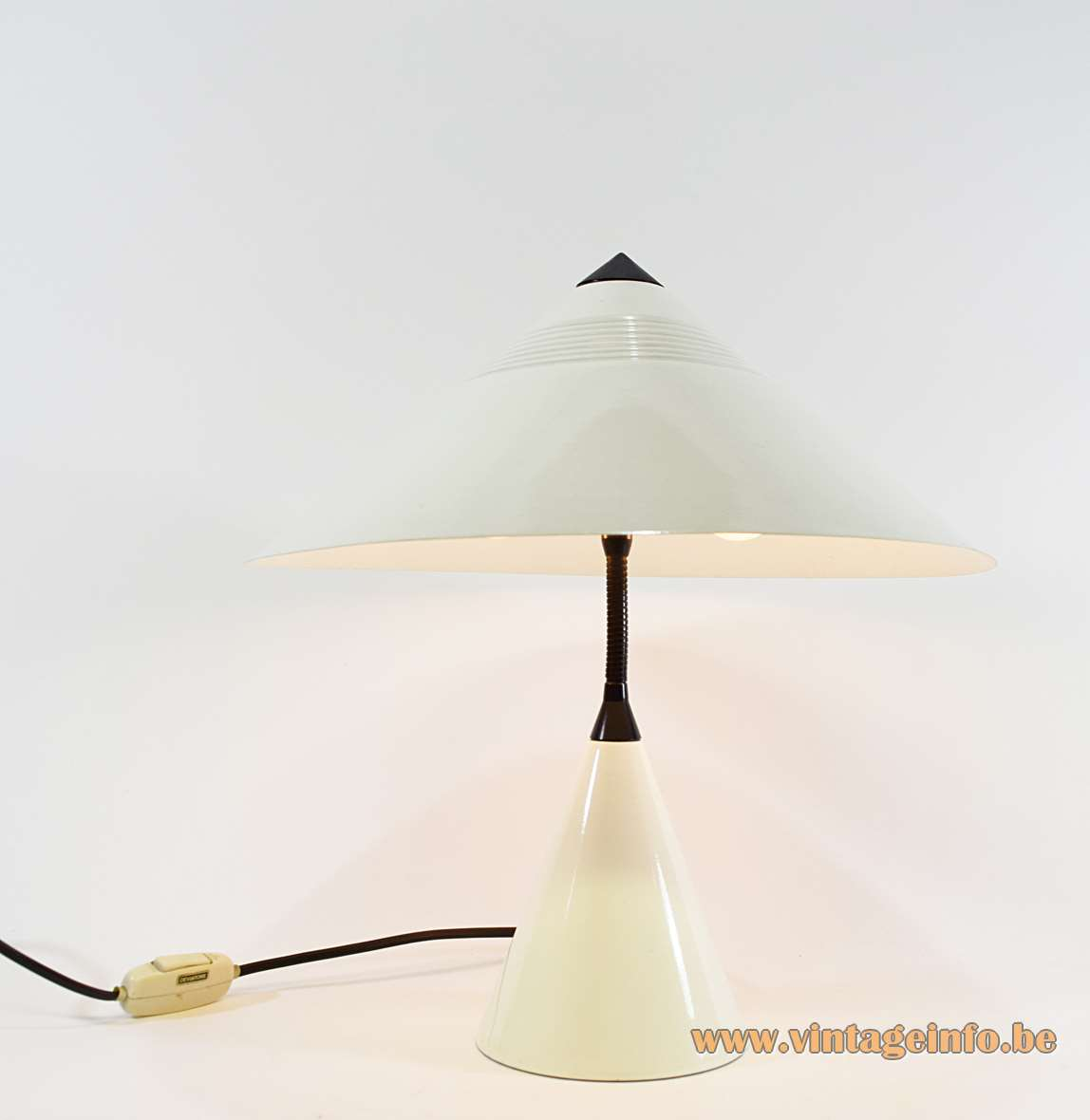 White Cone 1980s Table Lamp round conical metal base and mushroom lampshade black plastic top Massive, Belgium