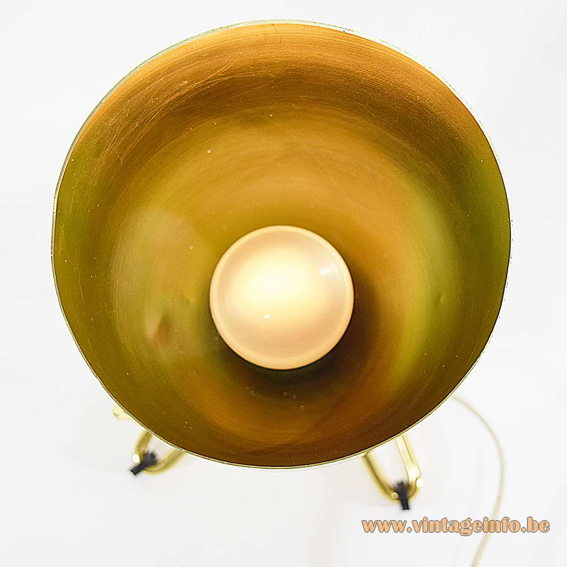 Conical gold anodised aluminium TV lamp & table lamp Rinnovel Italy 1950s 1960s top view