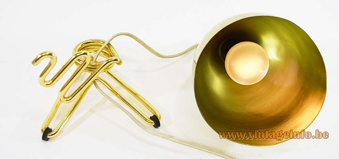 Conical Gold coloured anodized aluminium TV table lamp 1950s 1960s Ettore Sottsass Rinnovel MCM