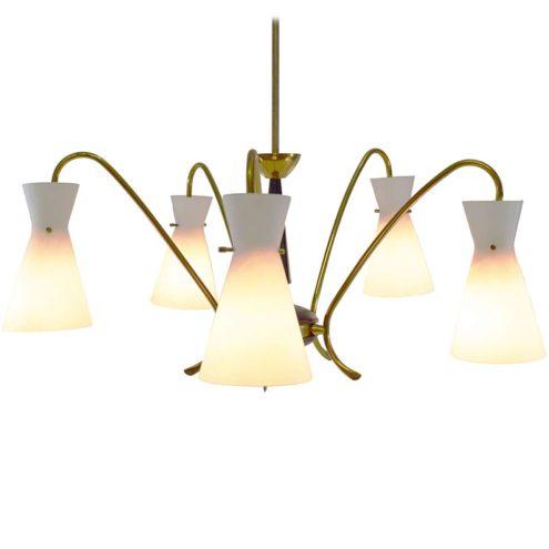 Opal glass chandelier diabolo lampshades brass folded rods E14 sockets 1950s 1960s MCM Mid-Century Modern hand blown white