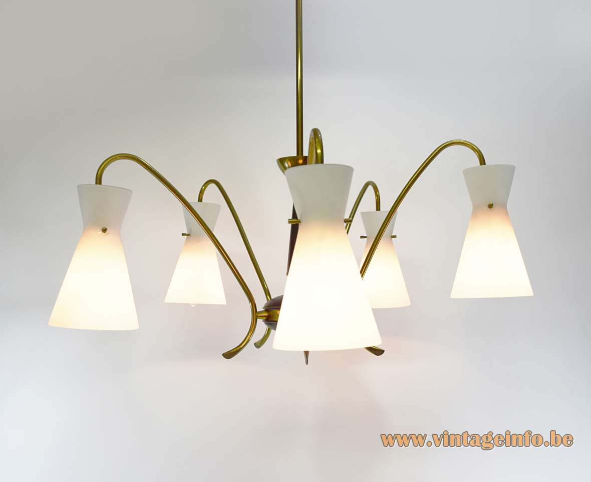 Diabolo Opal Glass Chandelier brass folded rods opaque white hand blown glass 1950s 1960s MCM