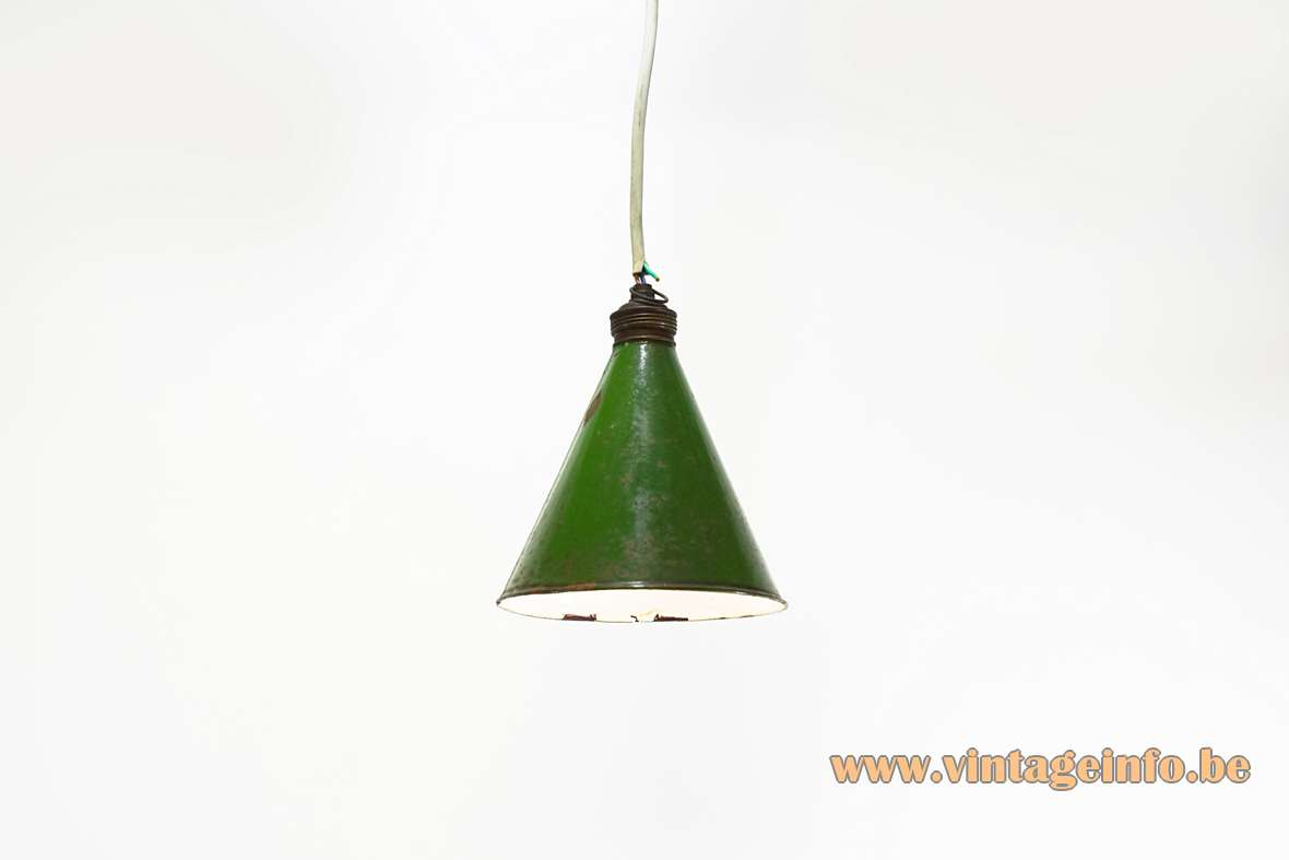 Diamond cutter pendant lamp green & white enamelled iron conical lampshade 1920s 1930s 1940s Antwerp Belgium