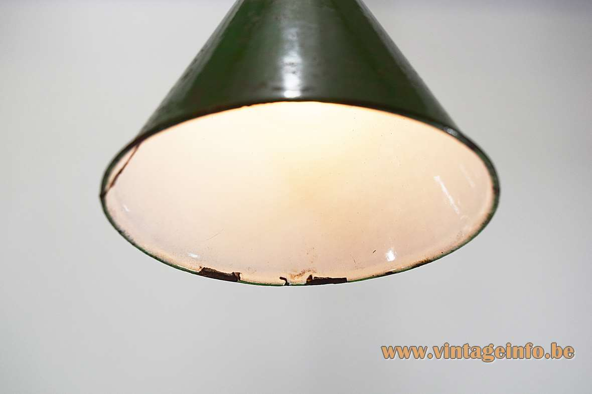 Diamond cutter pendant lamp in green and white enameled iron in a conical form 1930s Antwerp