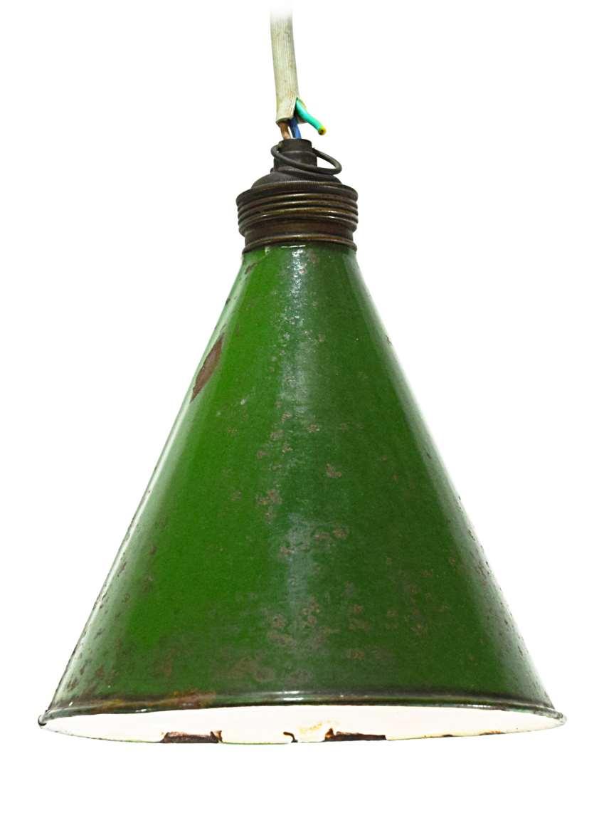 Diamond Cutter Pendant Lamp green white enameled iron conical 1930s 1960s MCM Antwerp Belgium