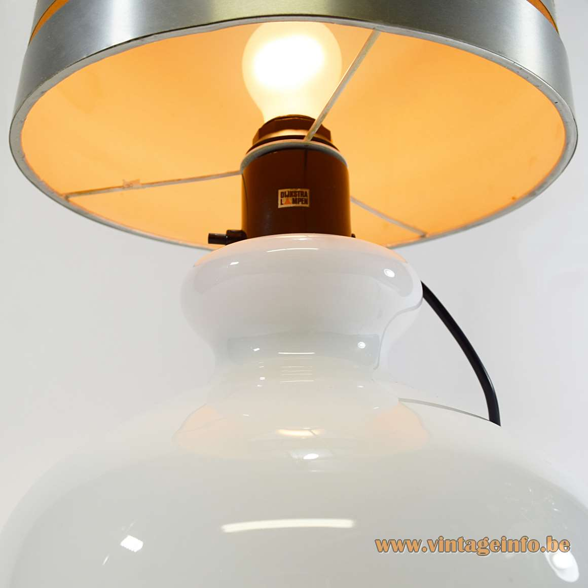 Dijkstra white opal hand blown globe glass table lamp fabric lampshade 2 light bulbs 1960s 1970s MCM