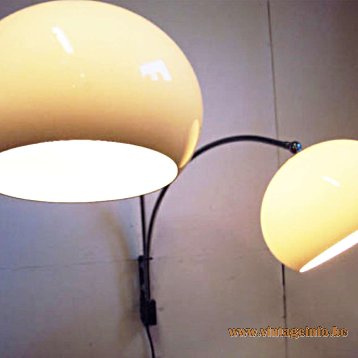 Dijkstra Double Wall Lamp brown acrylic Perspex globes 1970s MCM metal