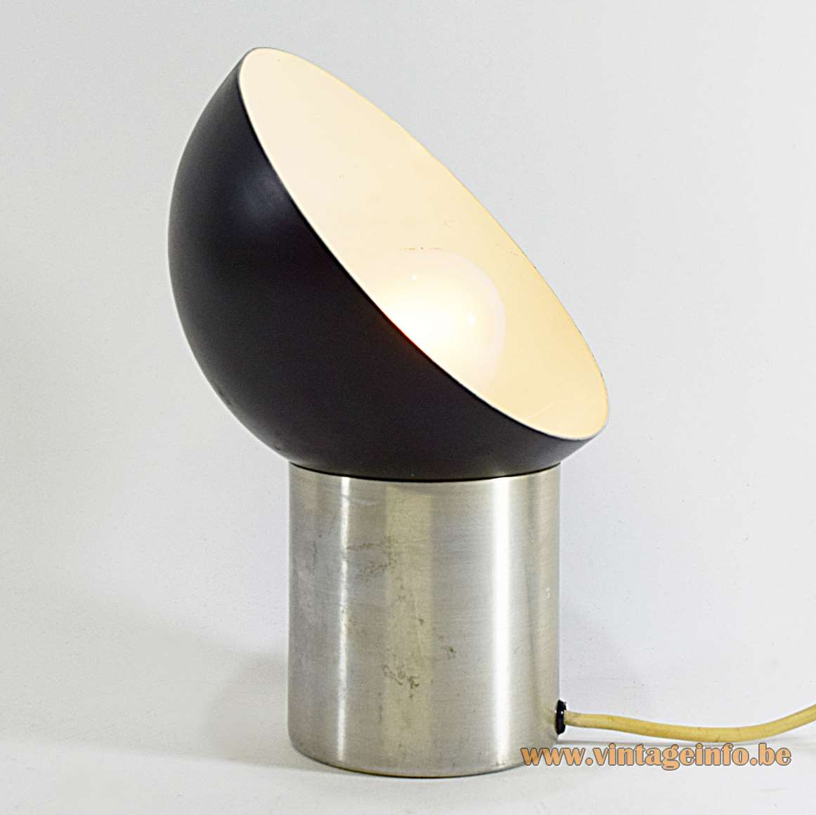 Half Globe Aluminium Display Table Lamp black and white painted lampshade tubular base 1960s 1970s MCM