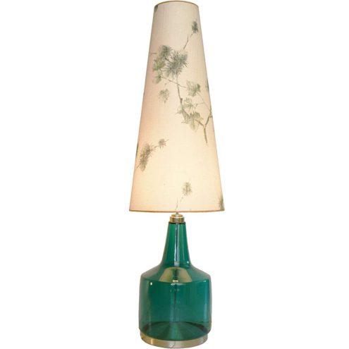 DORIA 1960s glass floor lamp turquoise translucent base aluminium bottom fabric lampshade 1960s 1970s Germany