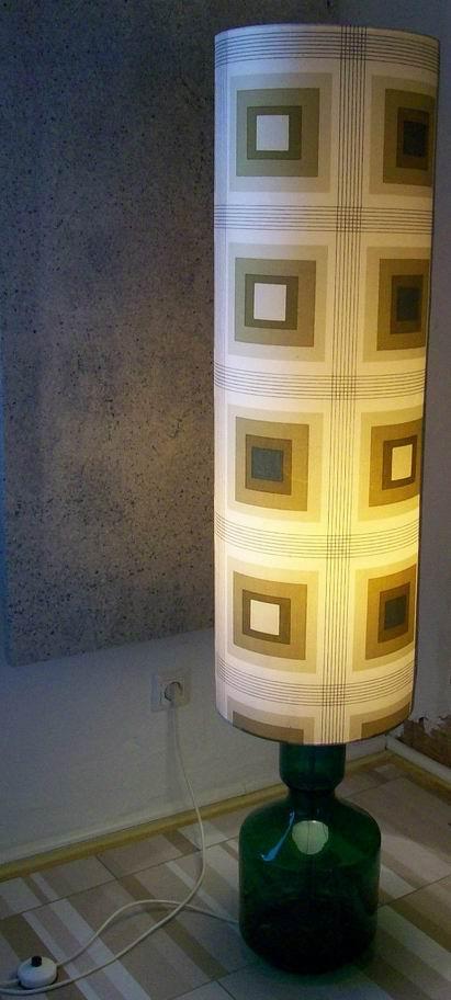 Doria 1960s Glass Floor Lamp green hand blown aluminium base fabric lampshade MCM