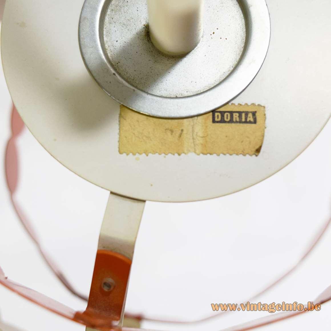 Doria Metal Pendant Lamp Orange White circles metal iron round 7 layers 1960s 1970s MCM Germany label