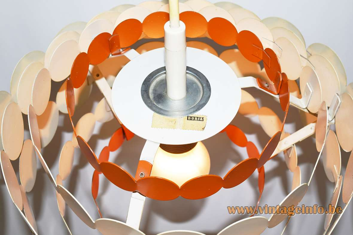 DORIA metal pendant lamp made of orange white iron circles in 7 layers 1960s 1970s Germany