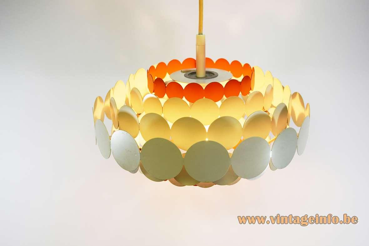 Doria Metal Pendant Lamp Orange White circles metal iron round 7 layers 1960s 1970s MCM Germany