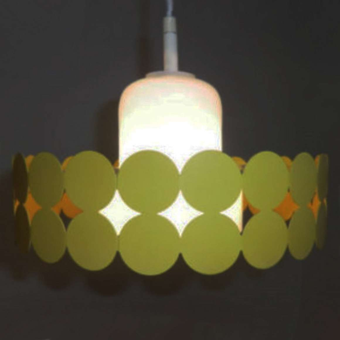 Doria Metal Pendant Lamp olive green opal glass circles metal iron round 7 layers 1960s 1970s MCM Germany