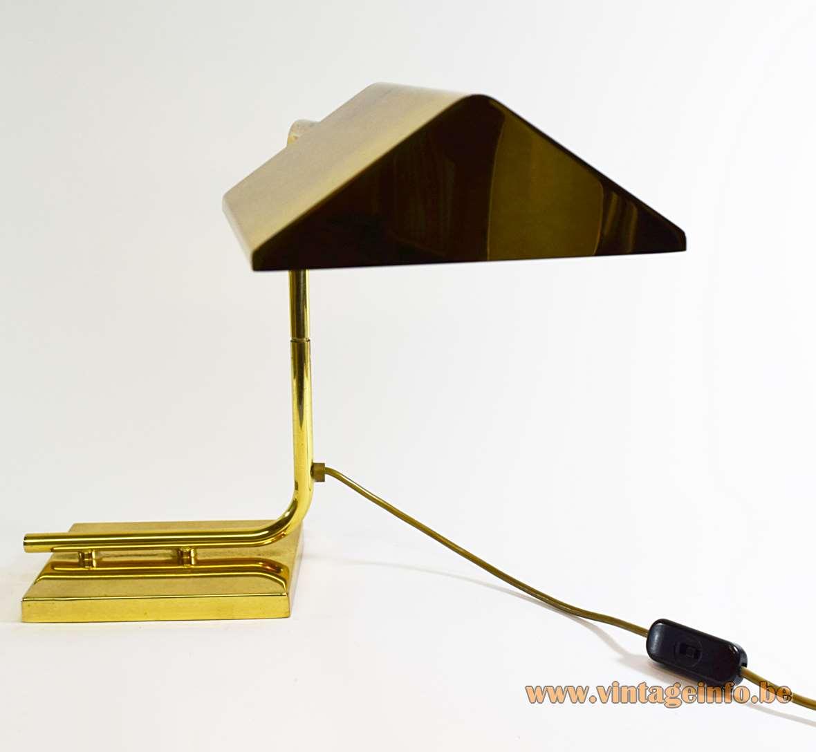 Egoluce Brass Desk Lamp swing arm 1970s 1980s MCM Italy cast iron counterweight