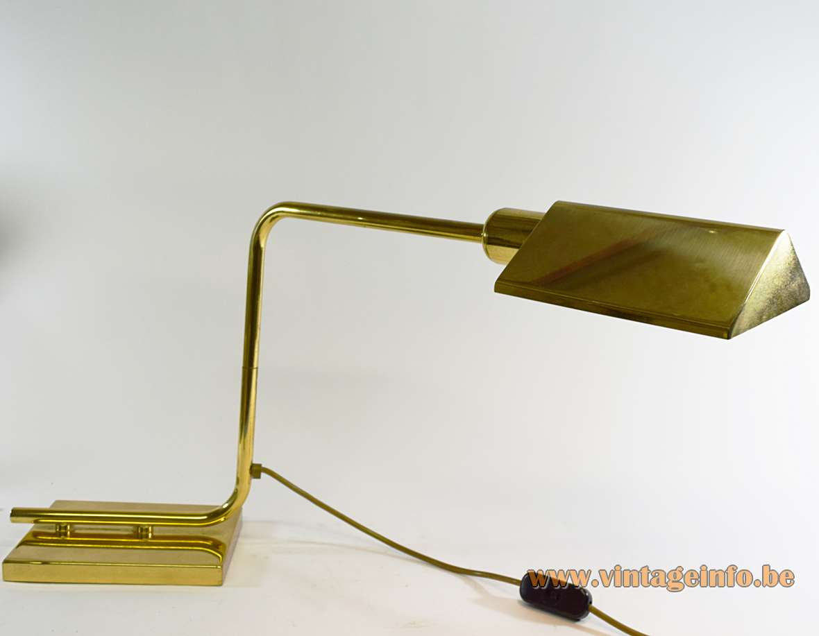 Egoluce brass desk lamp with a curved swing arm rod rectangular base and triangular lampshade 1970s