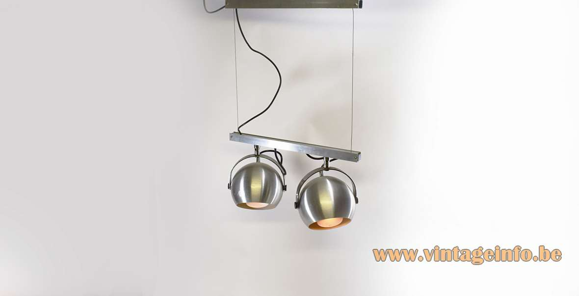 Double Eyeball Spotlight Ceiling Lamp brushed aluminium globes and slats steel wire chrome parts 1960s 1970s MCM