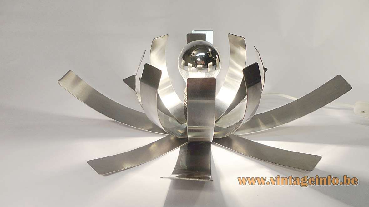 Fleur De Lumière table lamp made in Inox stainless steel representing a flower from the 70s