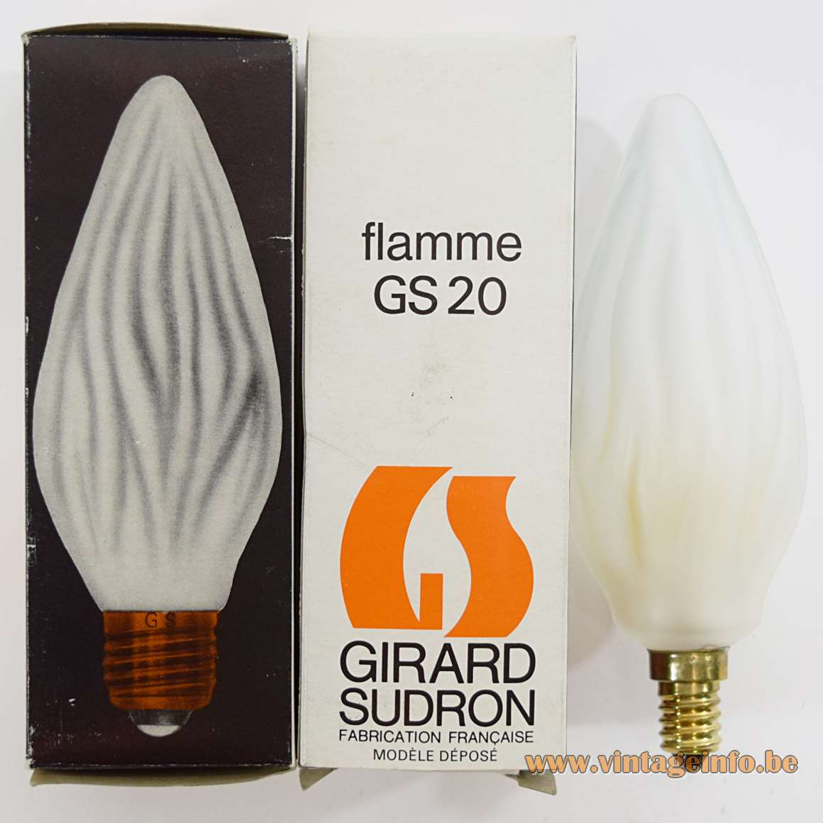 Girard Sudron GS20 Flamme Light Bulb E14 frosted embossed glass 1950s 1960s 1970s MCM
