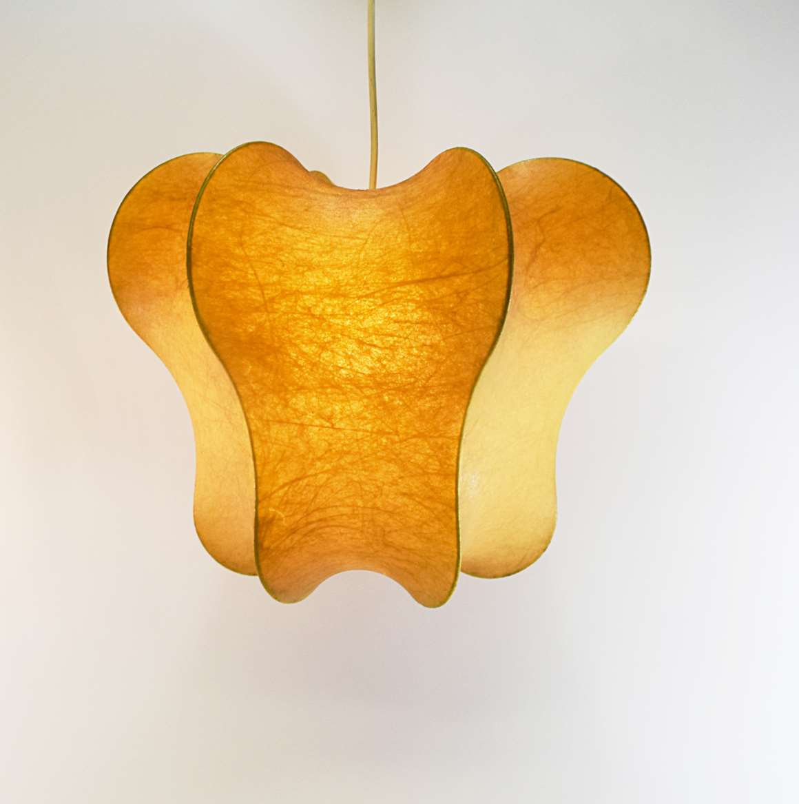 Goldkant Leuchten Cocoon pendant lamp sprayed plastic lampshade metal wire frame 1960s 1970s Germany E27 socket