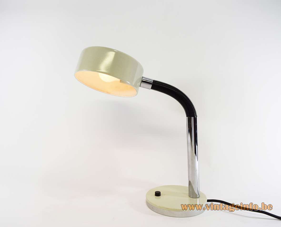 1970s Hala Gooseneck Desk Lamp round white metal base & lampshade black plastic gooseneck chrome rod MCM