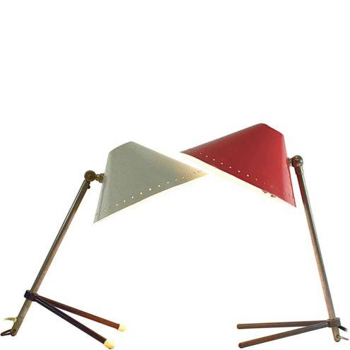Hala table lamp Pinocchio brass iron tripod rods perforated stars aluminium lampshade E14 socket 1950s 1960 MCM Mid-Century Modern