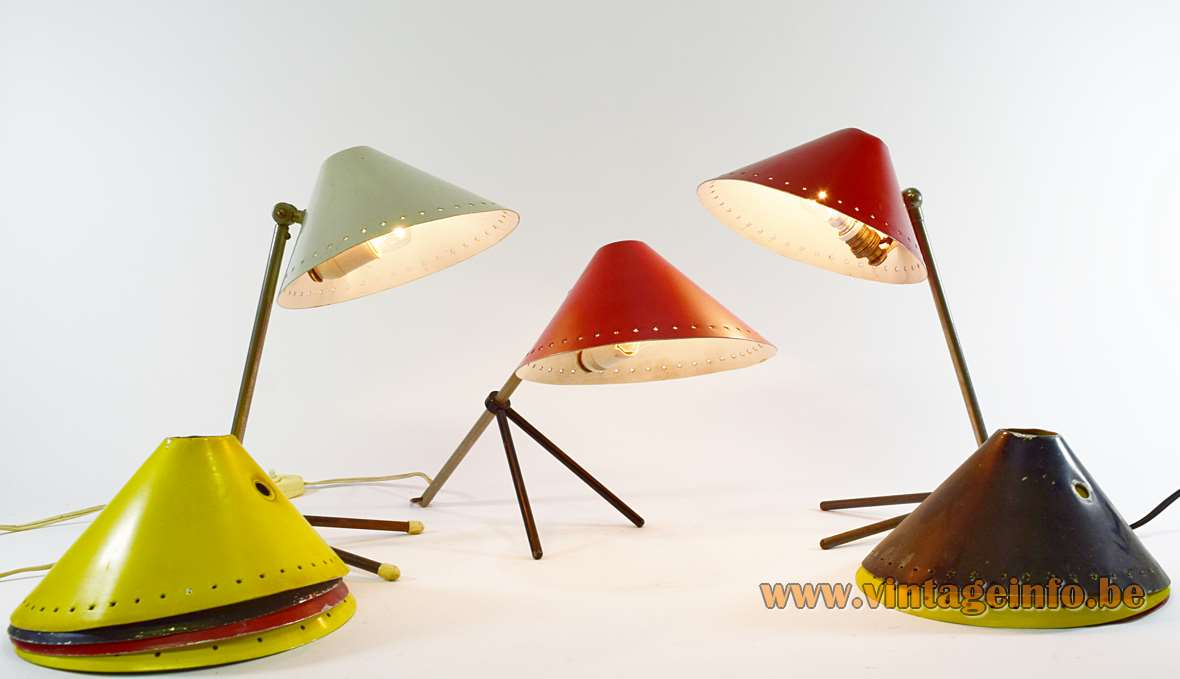 Hala Pinocchio table lamp brass & iron tripod base perforated stars lampshade E14 lamp socket 1950s 1960s