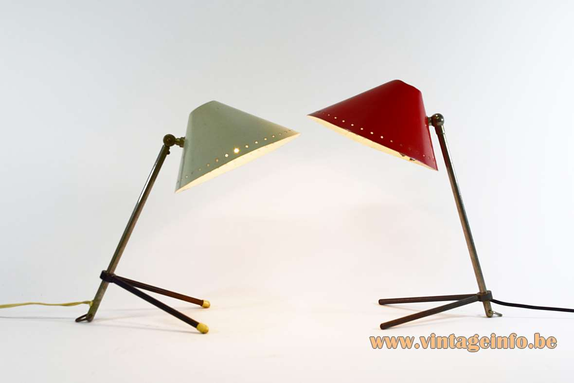 Hala table lamp Pinocchio brass iron tripod rods perforated stars aluminium lampshade E14 socket 1950s 1960 MCM Mid-Century Modern