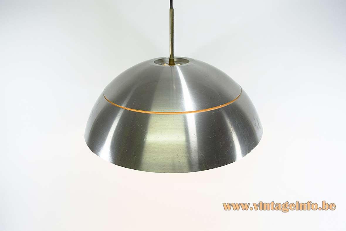 Hans-Agne Jakobsson pendant lamp half round brushed aluminium lampshade faux wood ring E27 socket 1960s