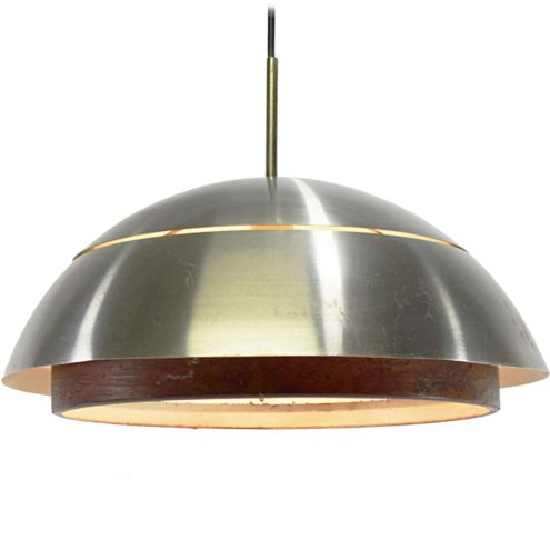 Hans-Agne Jakobsson pendant lamp in brushed aluminium with a faux wood ring E27 socket 1960s