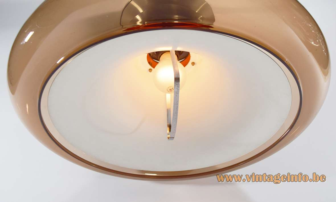 Herda Smoked Acrylic Rise & Fall Pendant Lamp orange painted aluminium inside 1960s 1970s MCM