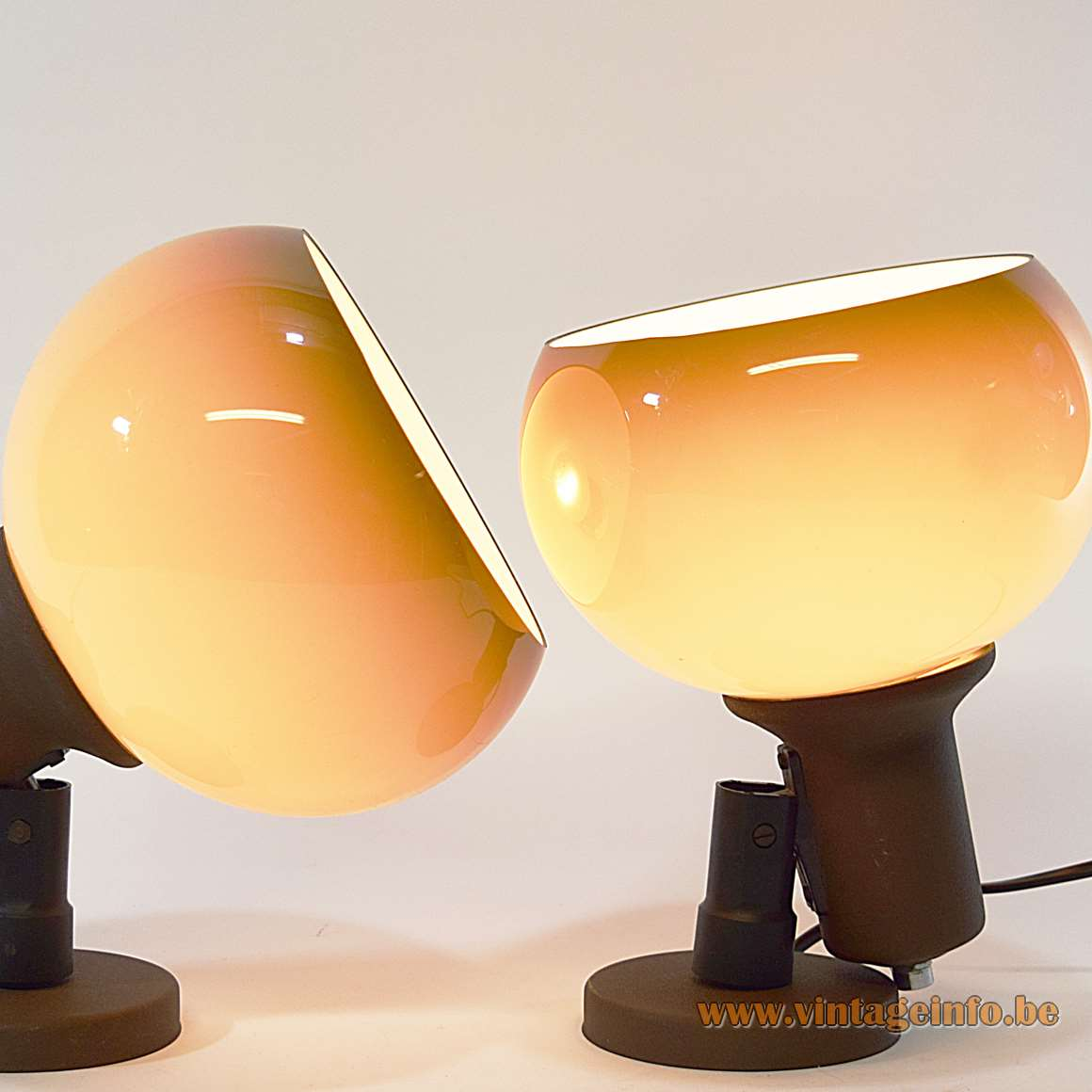 Herda Brown Acrylic Wall Lamps flush mounts round lampshade Guzzini style 1970s MCM The Netherlands