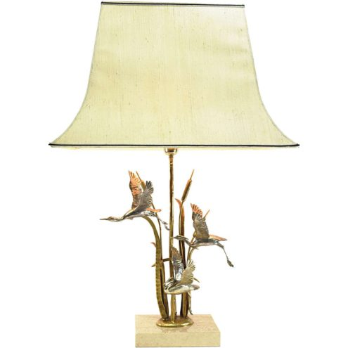Herons Cattails table lamp gilded silver-plated metal travertine limestone bulrush reed 1970s 1980s Hollywood Regency