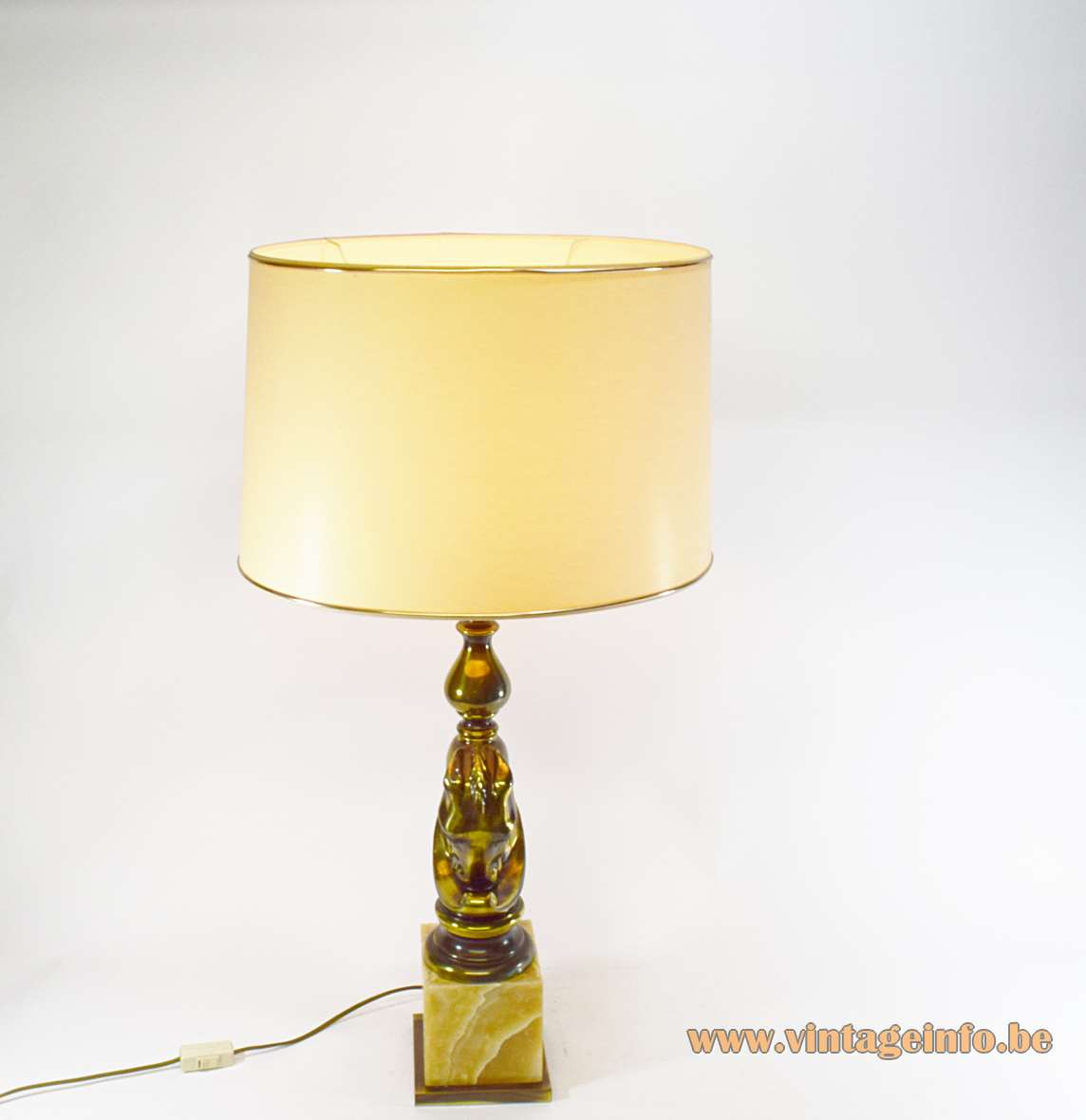 Horsehead table lamp brown onyx marble base brass head fabric lampshade Loevsky and Loevsky E27 socket