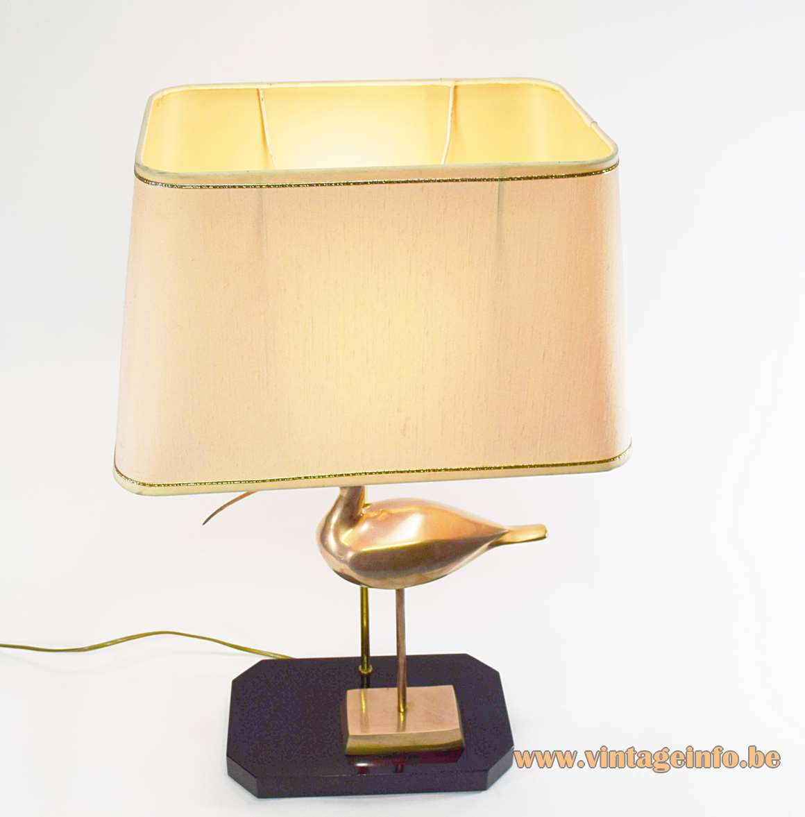 1970s Brass Ibis Table Lamps curlew Hollywood Regency black wood base 1980s Massive Belgium