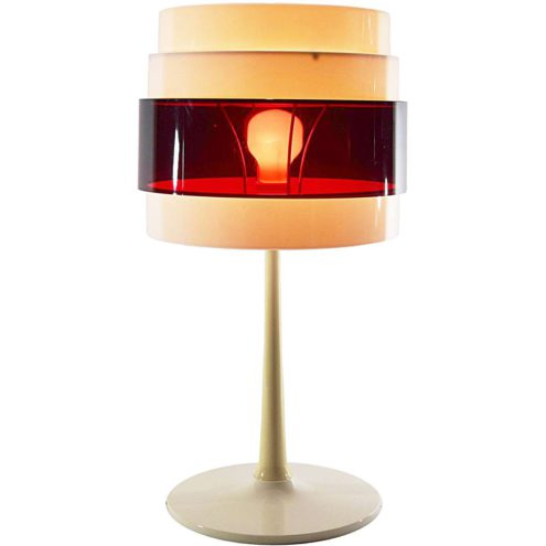 IKEA Energi table lamp white base conical rod red translucent plastic lampshade 2002 design: Öjerstam Elebäck