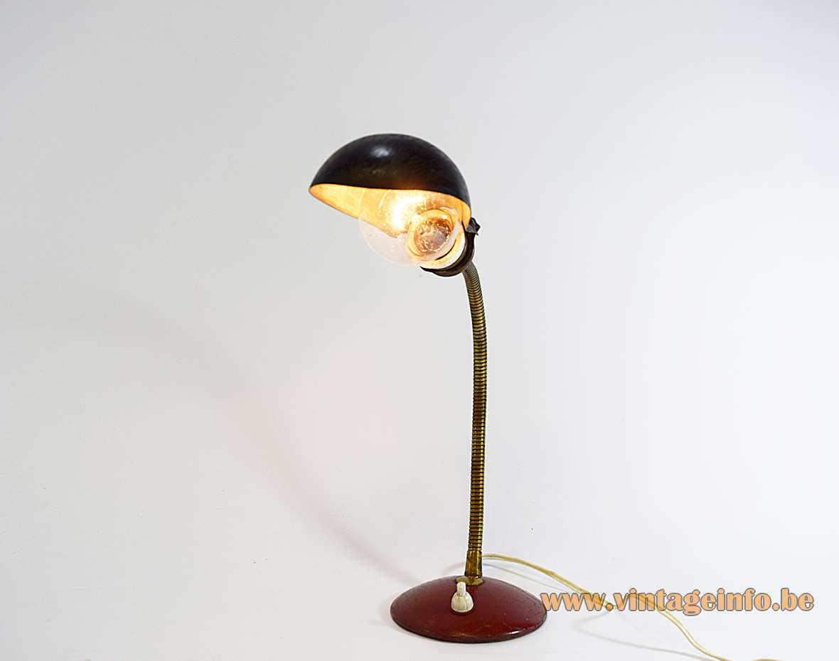 Industrial brass gooseneck desk lamp Helo Leuchten Germany red round metal iron base 1930s 1940s
