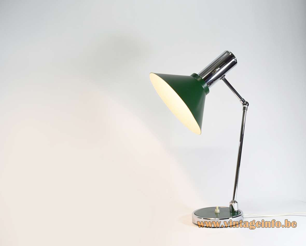 Italian Adjustable Desk Lamp 1970s green chrome ball knee joint Prova BHS Massive MCM