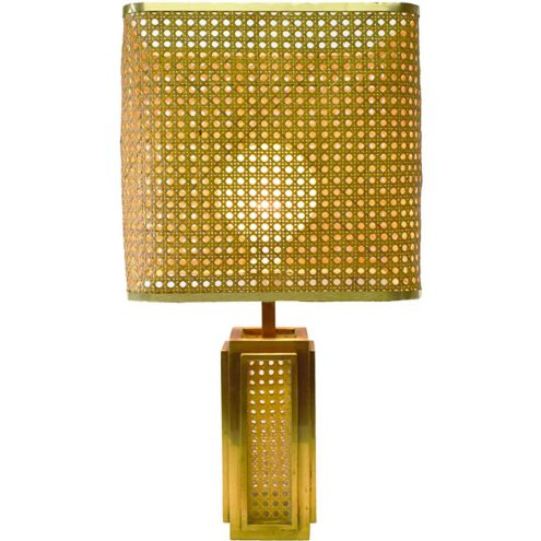 Italian brass & cane table lamp with a square base rattan lampshade Romeo Rega 1960s 1970s