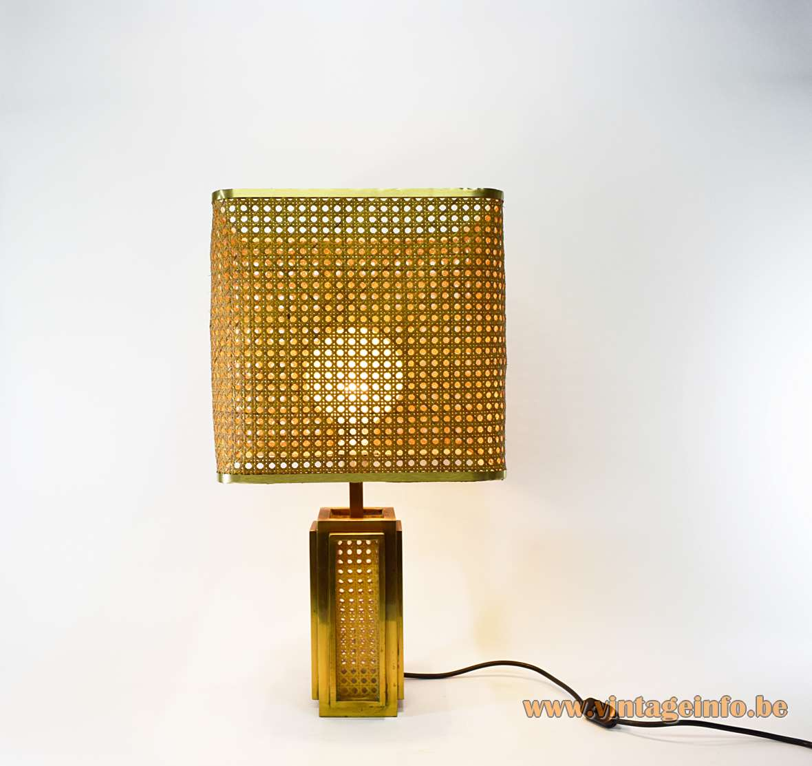 Italian Brass & Cane Table Lamp Square base and lampshade 1960s rattan 1970s MCM