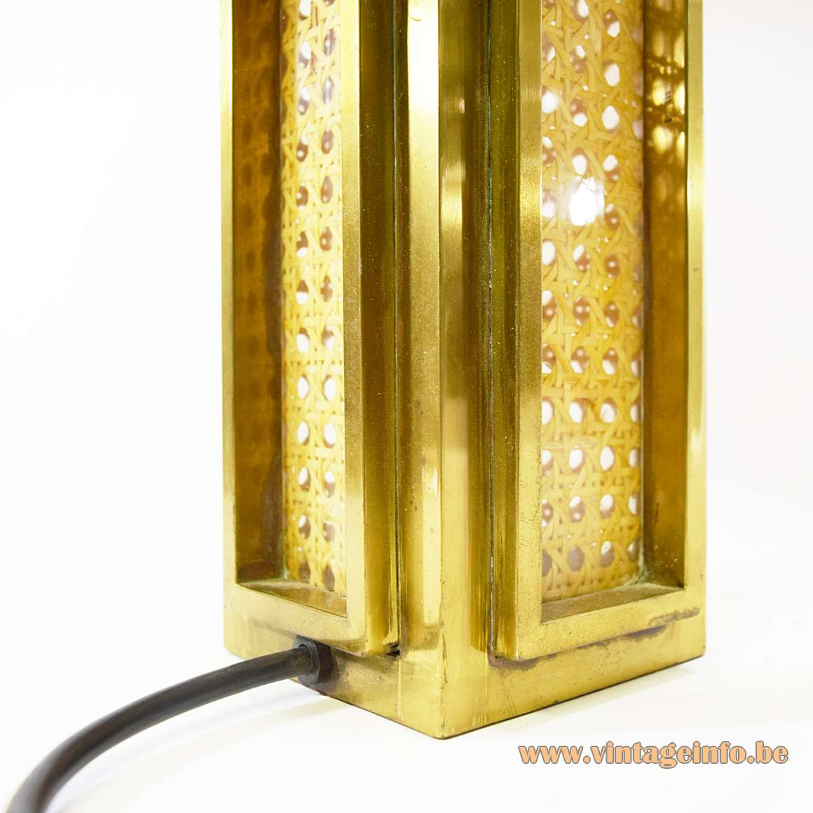Italian Brass & Cane Table Lamp