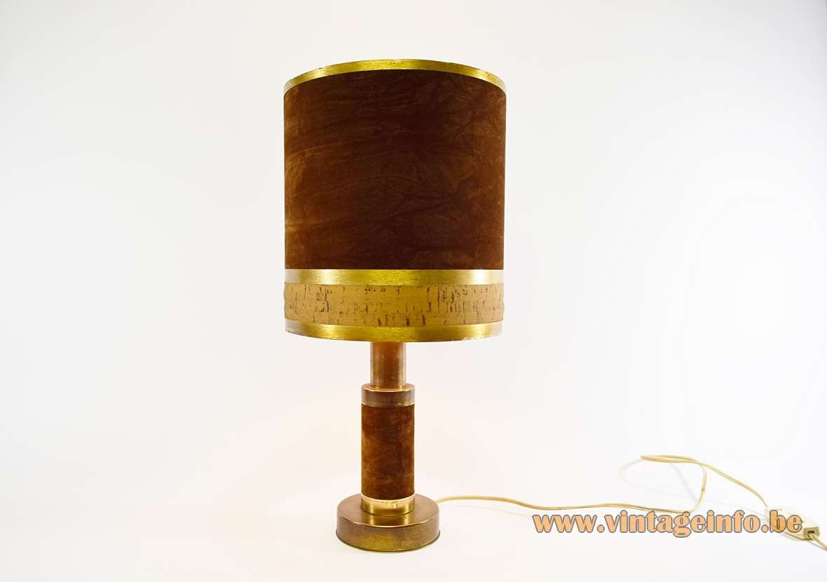 Velours, Cork & Brass Table Lamp brown round Massive Belgium 1970s MCM