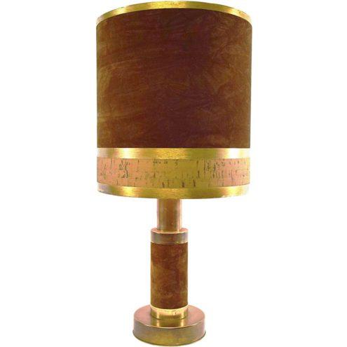 Velours and cork table lamp brass base brown velours lampshade Massive Belgium 1970s E27 lamp socket