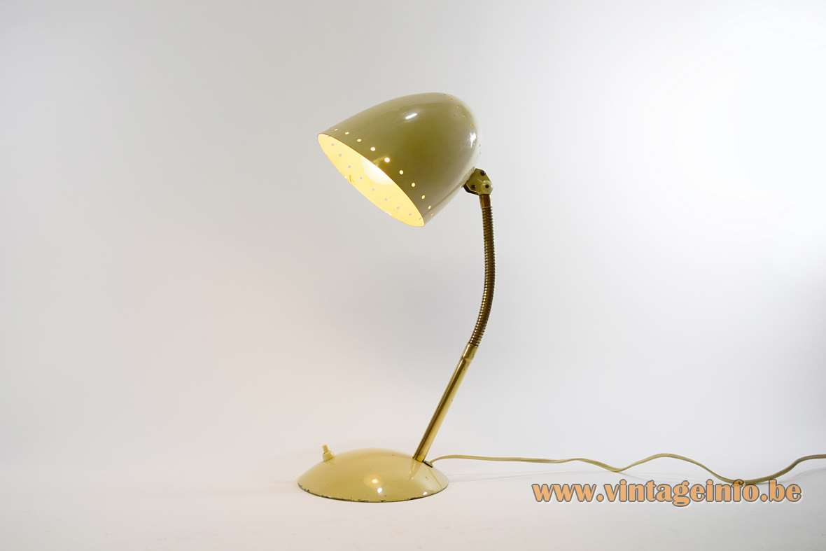 Kaiser Idell Desk Lamp cream colour curved brass goose-neck half round base and lampshade 1930s Bauhaus
