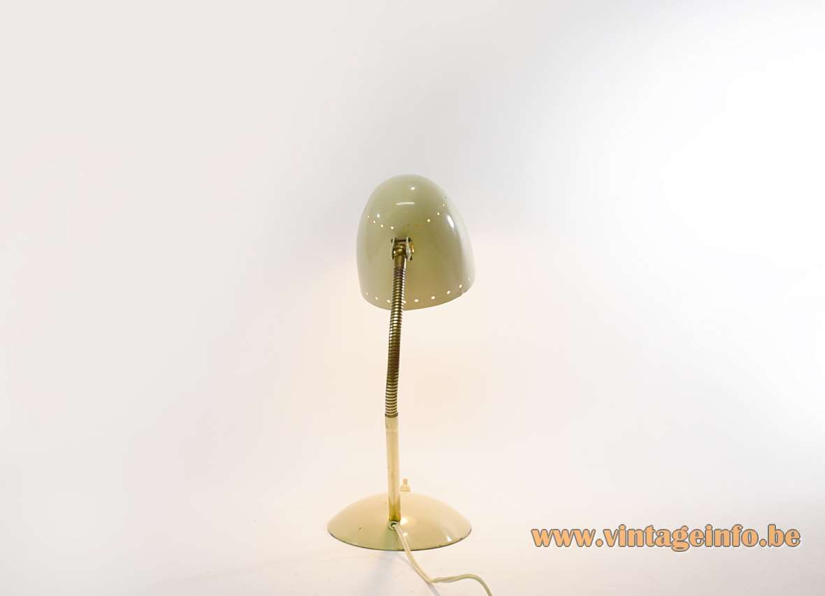 Kaiser Idell desk lamp in ochre metal and a brass gooseneck design: Christian Dell 1920s 1930s