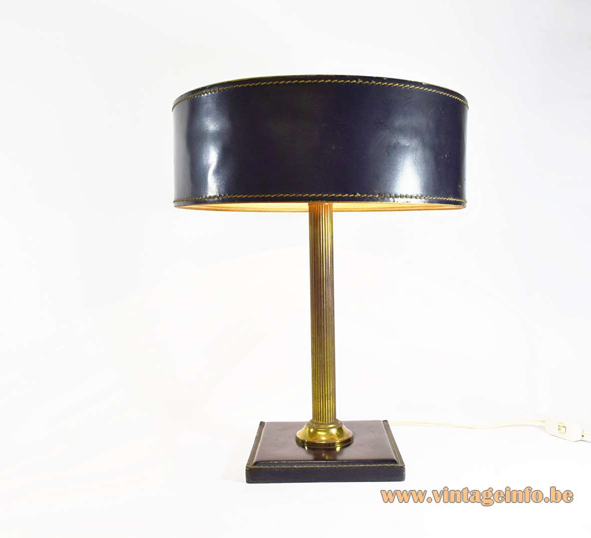 Black leather square base desk lamp brass ribbed rod black leather clad lampshade Jacques Adnet 1970s
