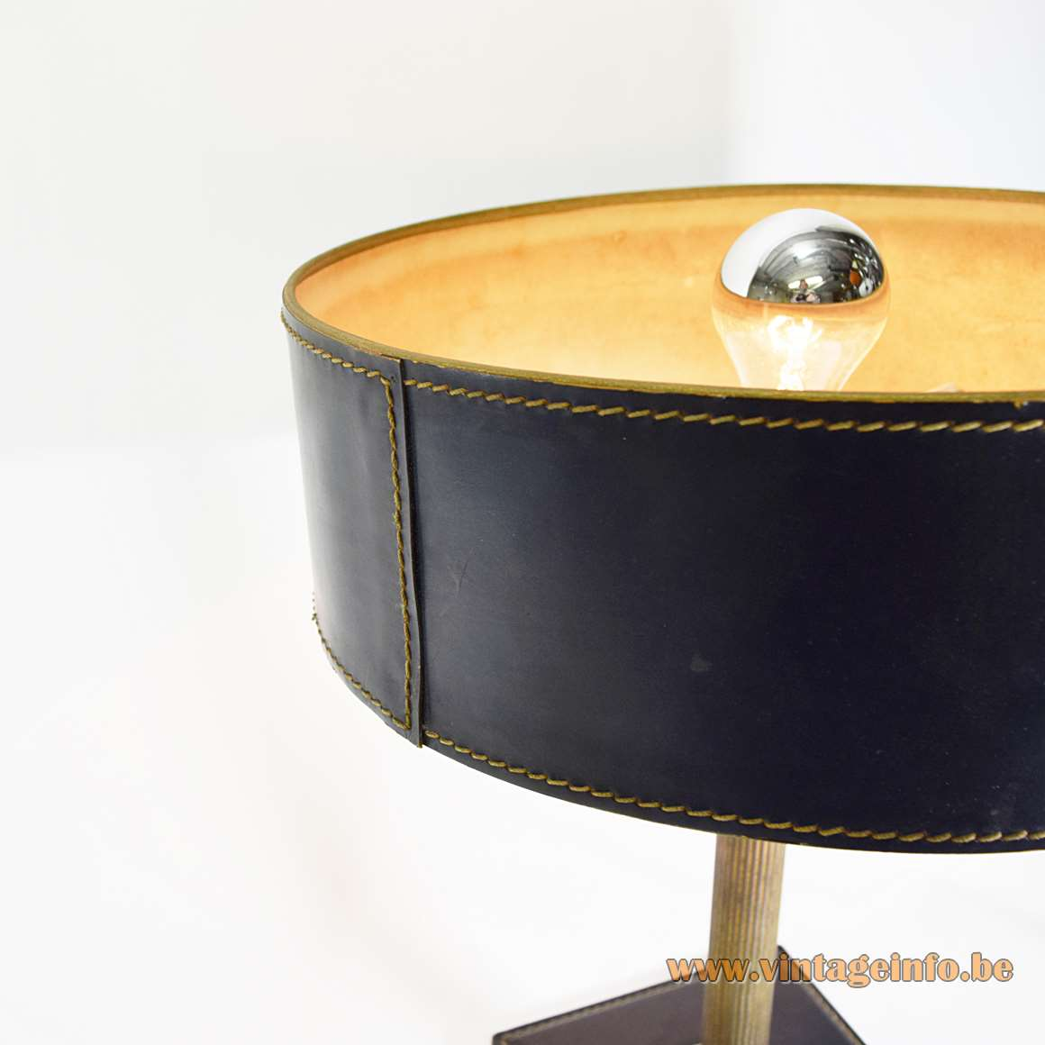 Black Leather Square Base Desk Lamp clad Jacques Adnet Hermès Delvaux ILG 1970s brass rod MCM