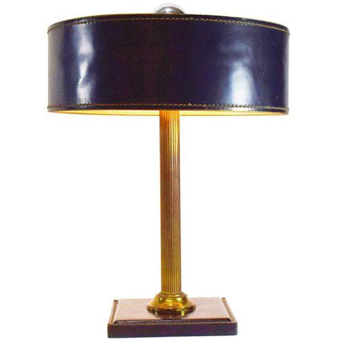 Leather desk lamp black clad square base Jacques Adnet Hermès Delvaux ILG 1970s brass rod MCM Mid-Century Modern