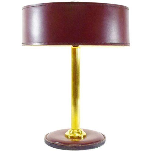 Leather desk lamp maroon burgundy clad round base Jacques Adnet Hermès Delvaux ILG 1970s brass rod MCM Mid-Century Modern