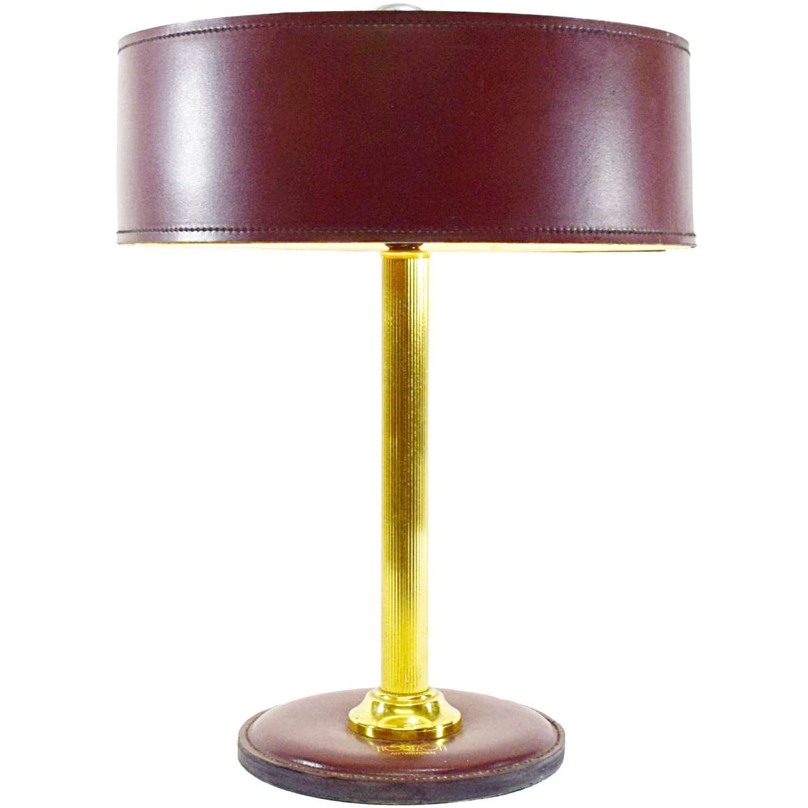 Maroon Leather Desk Lamp